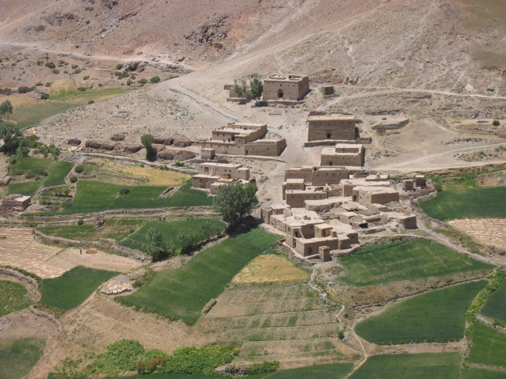 Mud brick village and terraced fields